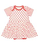 Sense Organics Baby-Mädchen Body PIA Kleid GOTS-Zertifiziert, Mehrfarbig Indian Block + AOP Leaves 781002, 80 (Herstellergröße: 9M)