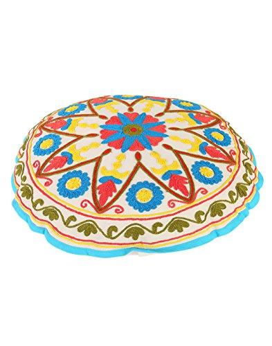Tradizionale Bianco rotonda Boho Décor Pouffe cotone floreale ottomano copertura decorativa ricamato Ottomana Pouf da (Sedia Da Giardino Ottomano)