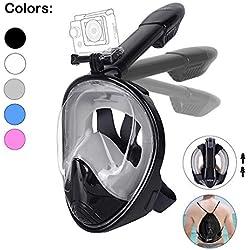 Unigear Masque de Plongée, Masque Snorkeling Plein Visage 180° Visible, Antibuée Anti-Fuite sous-Marine, Snorkel Masque avec la Support pour Caméra de Sport, Adapté pour Adulte (Noir-Gris, L/XL)