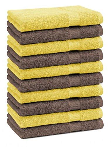Betz lot de 10 serviettes débarbouillettes taille 30x30 cm 100% coton Premium couleur jaune et marron noisette