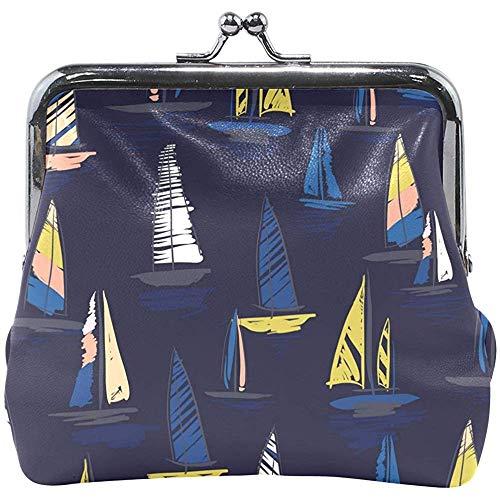 Portamonete Motivo Barca Vela BLU Scuro Fibbia portamonete