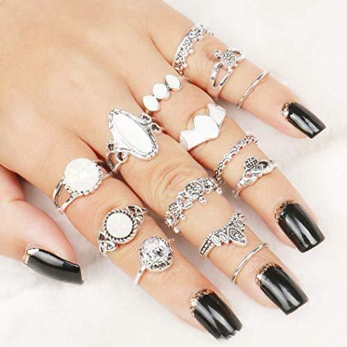 Yean Vintage Ring Set Turtle Heart Opal-Kristallgelenk-Knöchelringe Silber für Frauen und Mädchen