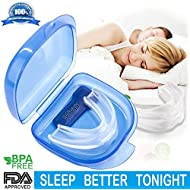 Mouth Guard, Gum Shield for Grinding Teeth & Snoring, 2-in-1 Anti Snore Devices with Retainer Case,Snore Stopper for Better Sleep & Sports