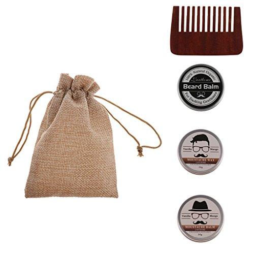 perfk Kit 4pcs Outil de Rasage Manuel pour Homme Barbier Baume à Barbe à Hydratation + Cire à Barbe + Peigne à Moustache en Bois + Etui de Rangement