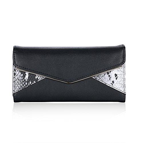 Semplice moda fibbie in nero/Tessera clamshell portafoglio in borsa-Nero Nero