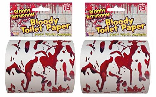 Forum Novelties Bloody Toilettenpapier, rot/weiß rot (Forum Weiße Kostüm)