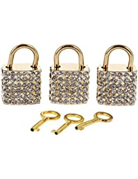MagiDeal Set Of 3PCS Vintage Square Shape Padlock With Key Backpack Travel Gym Supplies Travel Accessory Gold