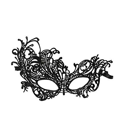 Cdet Kostüm Maske Spitze mit Strass Augen Maske Masquerade Mask für Halloween Maskentanzabend Party Foto Zubehör (Schwarz*1)
