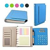 """6 Anello Cuoio Tessuto Business Ufficio Multifunzione Organizzatori Personali Riempibile Binder Taccuino con Calcolatrice Solare Note Adesive Slot per Schede 7"""" (7-1/4""""x5-1/2""""x1-1/4"""")"""