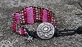 PowerofLove Design*Beadwork- Glasperlen-Wickelarmband-Geschenkidee-Lederperlen-verspielt-Rosa-Pink-Handgemacht-Damen