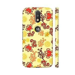 Colorpur Retro Butterflies Pattern On Yellow Artwork On Motorola Moto G4 / Moto G4 Plus Cover Cover (Designer Mobile Back Case) | Artist: Sangeetha