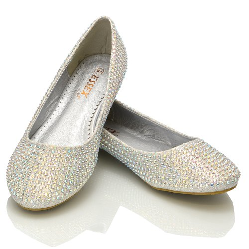 Damen Ballerinas Brautschuhe Diamant Glitzer Flache Pumps