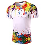 Whatlees Mens Hip Hop Slim Fit T-shirts with Colorful 3D Print