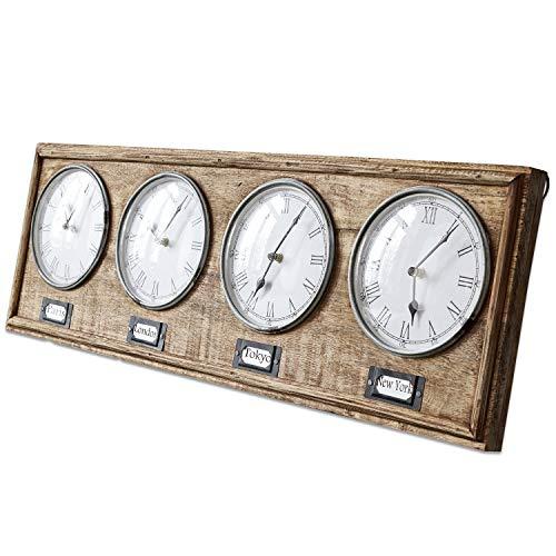 Loberon Uhr Posey, Mangoholz/Glasabdeckung, braun