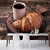 XZDXR Tapete Croissant Kaffee Getreide Lebensmittel Tapete, Wohnzimmer Küche Restaurant Fast Food Restaurant Bar Personalisierte Kaffee Wandbild, 336X238Cm