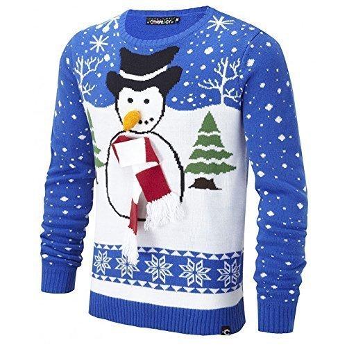 Unisex Pupazzo di neve Maglione Natalizio Cospirazione Frosty Natale da uomo da donna Top Blue small