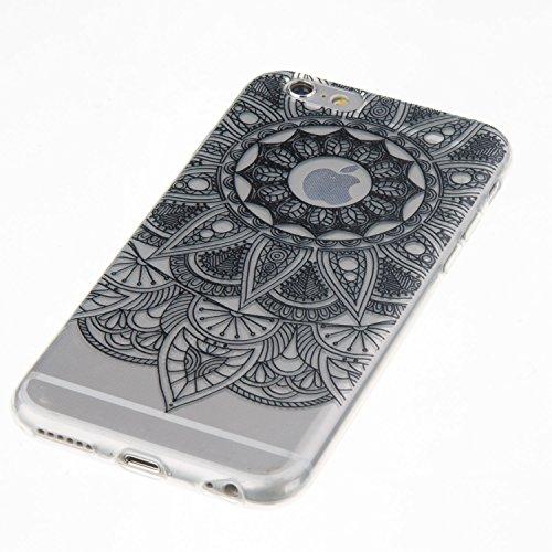 iPhone 6S Plus Hülle,iPhone 6 Plus Hülle,iPhone 6S Plus / 6 Plus Schutzhülle Case,ikasus® TPU Silikon Schutzhülle Case Hülle für iPhone 6S Plus / 6 Plus,Durchsichtig mit Indische Sonne Schmetterling B Schwarz Mandala Blumen
