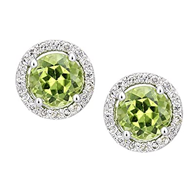 Naava Women's 9 ct White Gold Diamond and Peridot Cluster Stud Earrings