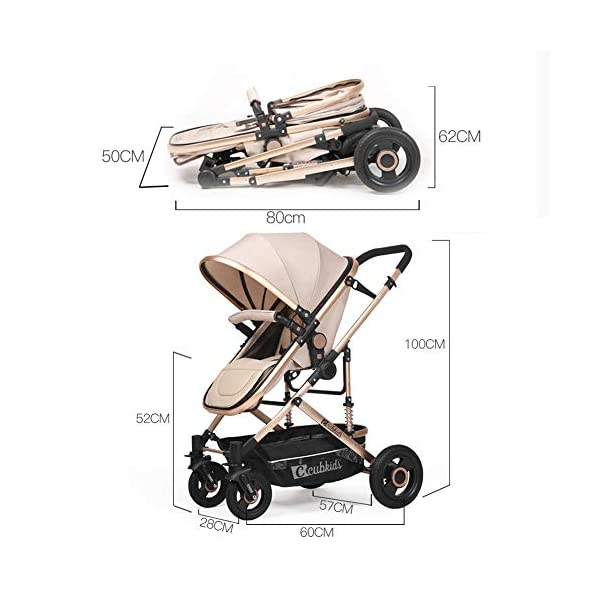 YSH Travel System Baby Stroller Pushchair High View Portable Baby Cart Suitable For Children From 0 To 36 Months /20KG,D-2 YSH Specifications - Stroller for children aged 0-3, standard load capacity 25 kg, maximum load capacity 50 kg, unfolded size 60 x 57 x 100 cm, folding size 80 x 50 x 62cm, net weight 8 kg Function - The stroller can take out the sleeping basket, fold easily, be smaller and easy to carry; adjustable backrest angle can sit or lie flat Features - Stroller can be folded quickly, capacity up to 50 kg / 110 lbs; with shock absorber system for smoother ride, adjustable backrest, comfortable ride, windproof, waterproof, all seasons 6