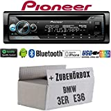 BMW 3er E36 - Autoradio Radio Pioneer DEH-S510BT - Bluetooth | Spotify | CD | MP3 | USB | Android | iPhone | Multicolor | 4x50Watt Einbauzubehör - Einbauset