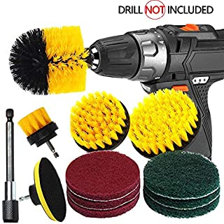 Power Scrubber Drill Brush Set - Favson 12 Pcs Drill Brush kit with Extended Long Attachment Time Saving Cleaning Kit for Bathroom Surfaces, Kitchen, Floor, Tub, Shower (Fits Most Drills)
