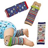 Hillento rodilleras bebé, juego de 3 bebé calentador de la pierna para el rastreo de los calcetines del bebé calentadores de la pierna, protector de la rodilla calcetines (patrón de niño)