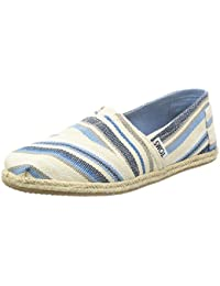 TOMS Womens Classics Blue Aster Woven Stripe Rope Sole