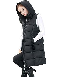 1858468479b068 BESBOMIG Damen Winterjacke Wintermantel Lange Daunenjacken - Daunenmantel  Lang Jacke Ärmellos Outwear Frauen Winter Warm Mantel