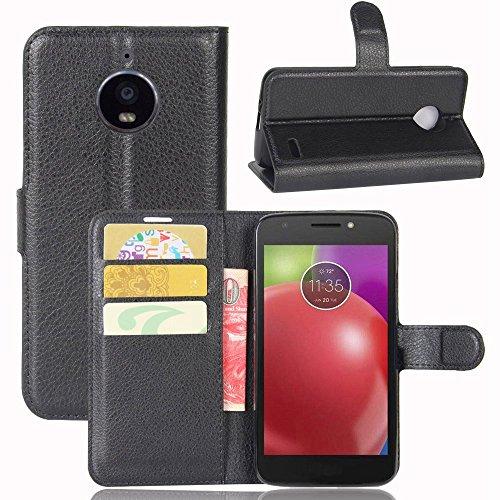 Guran® PU Ledertasche Case für Motorola Moto E4 Smartphone Flip Deckung Standfunktion und Karte Slot Telefonkasten Etui-schwarz