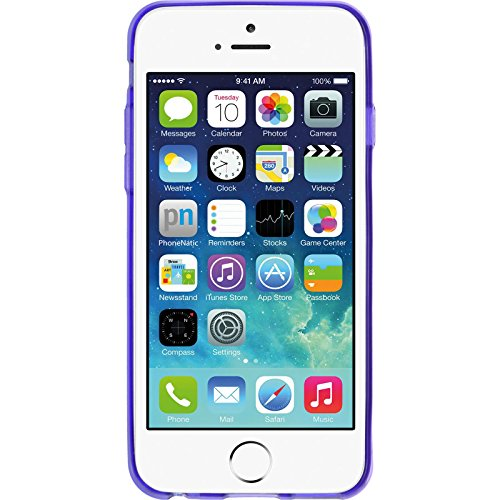 PhoneNatic Case für Apple iPhone 6s / 6 Hülle Silikon grau Slimcase Cover iPhone 6s / 6 Tasche + 2 Schutzfolien Lila