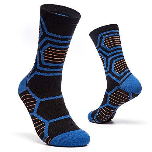 wazizhaozj Socken Damen & Herren Für Sie&Ihn Jungen & Mädchen Vielen Trendigen Farben Fit Für Reisen,Laufen,Ausdauer Steigern,Durchblutung Farbige Karierte Reitsocken @ Blue Black_10 Paar -