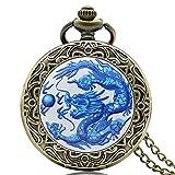 Taschenuhr mit chinesischem Drachen, blaues Gehäuse, altes Bronzefarben, Ketten-Halskette, Geschenk für Herren