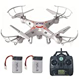 Remote Control Drone With 2.0MP HD Camera + Extra Battery, Mini Quadcopter Kit Support One Key Return Home 360 3D Flips RC Plane Helicopter UFO Remote Control Aeroplane Toy with LCD Screen Display For Beginners Indoor Outdoor Lamaston X5C-1 (white)