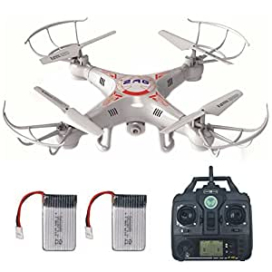 Remote Control Drone With 2.0MP HD Camera + Extra Battery, Mini Quadcopter Kit Support One Key Return Home 360 3D Flips RC Plane Helicopter UFO Remote Control Aeroplane Toy with LCD Screen Display For Beginners Indoor Outdoor Lamaston X5C-1 for Father Day Gifts (white)