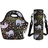 Coloranimal Sac repas isotherme Sac mignon Floral paresseux réutilisable en néoprène Sac isotherme, femme, sloth Lunch Bag+Big Water Bottle Bag-3