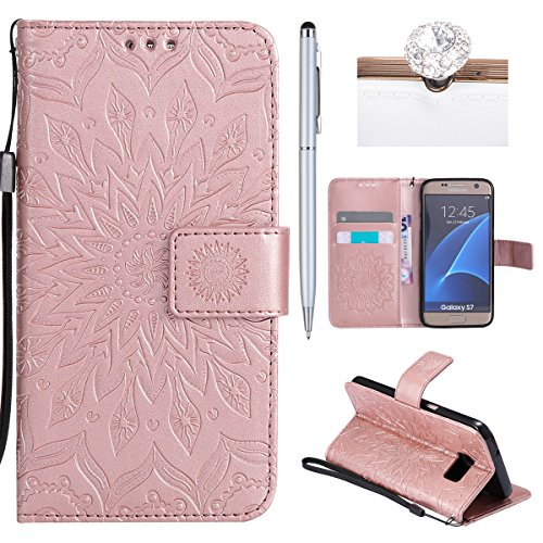 Felfy Coque Etui pour Samsung Galaxy S7,Galaxy S7 Coque Dragonne Portefeuille PU Cuir Etui,Galaxy S7 Etui Cuir Folio Housse Brun Tournesol 3D en Relief Motif Leather Case Wallet Flip Protective Cover  Tournesol Rose Or