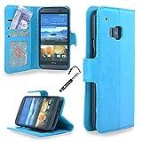 MadCase Premium PU Leder Etui Design Flip Case Hülle mit ID Schlitz für HTC M9 Mit Kreditkartensteckplã¤tze - Türkis