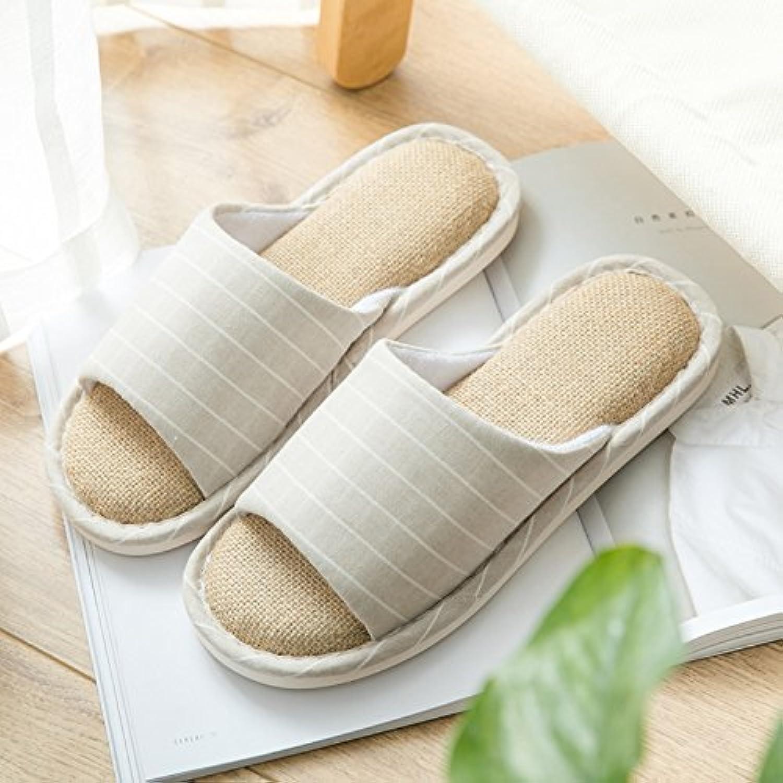 WXMTXLM Zapatillas de verano Zapatillas de lino de casa de verano suelo de madera interior suave fondo par casa...