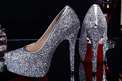 L@YC® Frauen Sommer High Heels Damen Kristall Wasserdicht Tisch Fein Mit Pailletten Tanz Sandalen Kleid Pumpe White