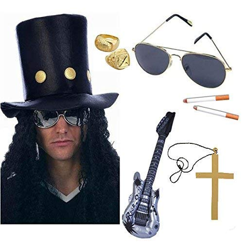 Seemeinthat Slash Rocker 80's Guitar Man Set Fancy Dress Hat Hair Guns Roses Ring Necklace Stag Party (1970 Mens Hair)
