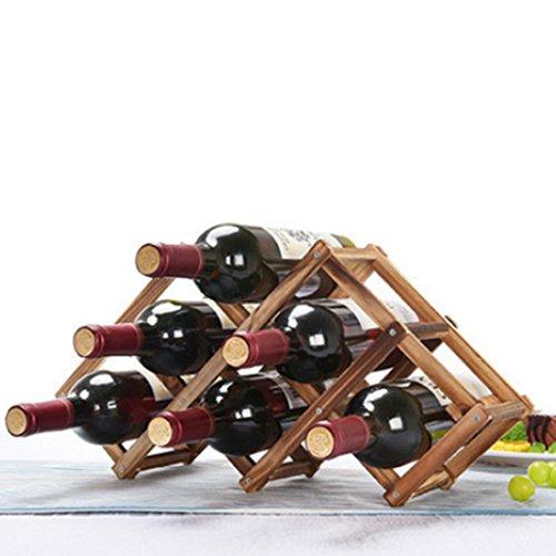 Mecotech Weinregal, Vintage Holz Weinregal Flaschenregal Weinflaschenregal Weinhalter Weinglashalterung für 6 Flaschen size 46 * 23 * 12 cm