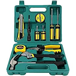 Tech Professional 12pcs Tools Set Basic Hand Carry Tool Box Kit Fix Repair Home Packaging