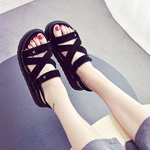 LvYuan Frauen Sommer Sandalen / Komfort Lässige Mode / Magic Aufkleber / Strand Dicke Boden / Keil Fersen / Römische Schuhe Black