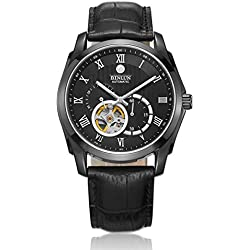 BINLUN Automatic Skeleton Tourbillon Watches for Men with Black Dial Analogue Display Authentic Leather Strap - Dual Time GMT 24 Hour Luminous Water Resistant Sapphire Crystal Mens Watch