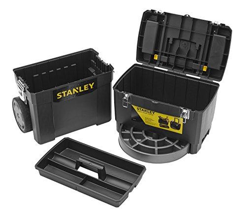 Stanley Rollende Werkstatt / Werkzeugwagen (47.3x30.2x62.7cm, zwei seperat verwendbare Werkzeugboxen, robuster Kunststoff, zwei Einheiten, Metallschließen, Organizer) 1-93-968 - 4