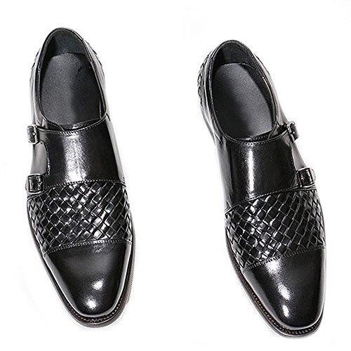 Hommes en cuir véritable sur Mocassins. Antidérapant Boucle Sangle tissé Business Oxford Chaussures Noir