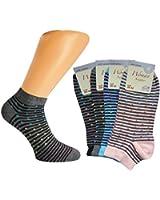 12er oder 24er Pack Damen Sneakers Söckchen, halbe Socken, Füsslinge, Füßlinge mit Stripes & Dots, Gr. 35/38 oder 39/42
