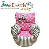 personalisierbar grau gestreift und rosa Polka Dot Kleinkinder Sitzsack