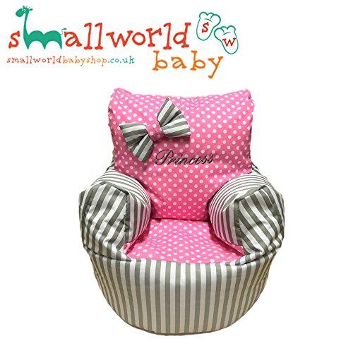 personalisierbar grau gestreift und rosa Polka Dot Kleinkinder Sitzsack (Polka-dot-möbel)