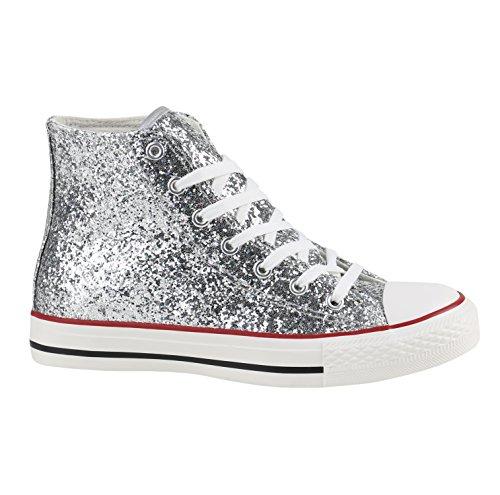 Damen Sneakers High Freizeit Glitzer Turnschuh Sportliche Schuhe Silber Glitzer